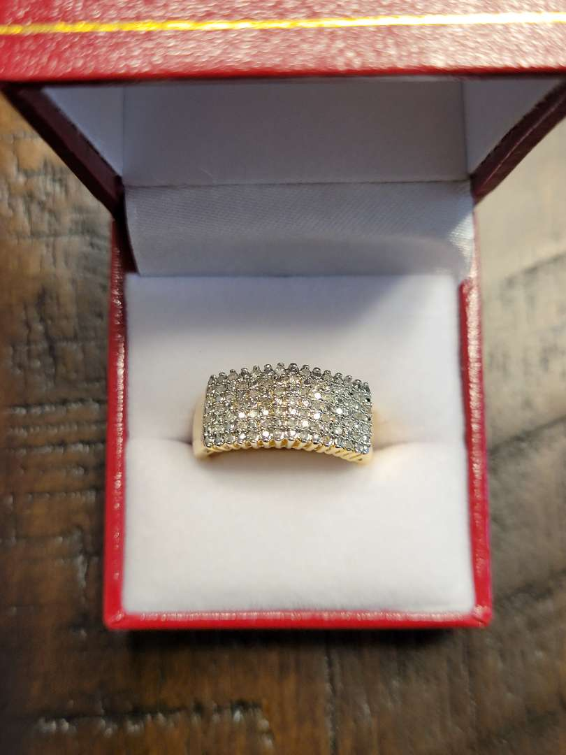 Lot # 99 Brilliant 1/2ct Diamond Cocktail Ring - 14K Gold Over Sterling Silver  - Sz7 - NBW