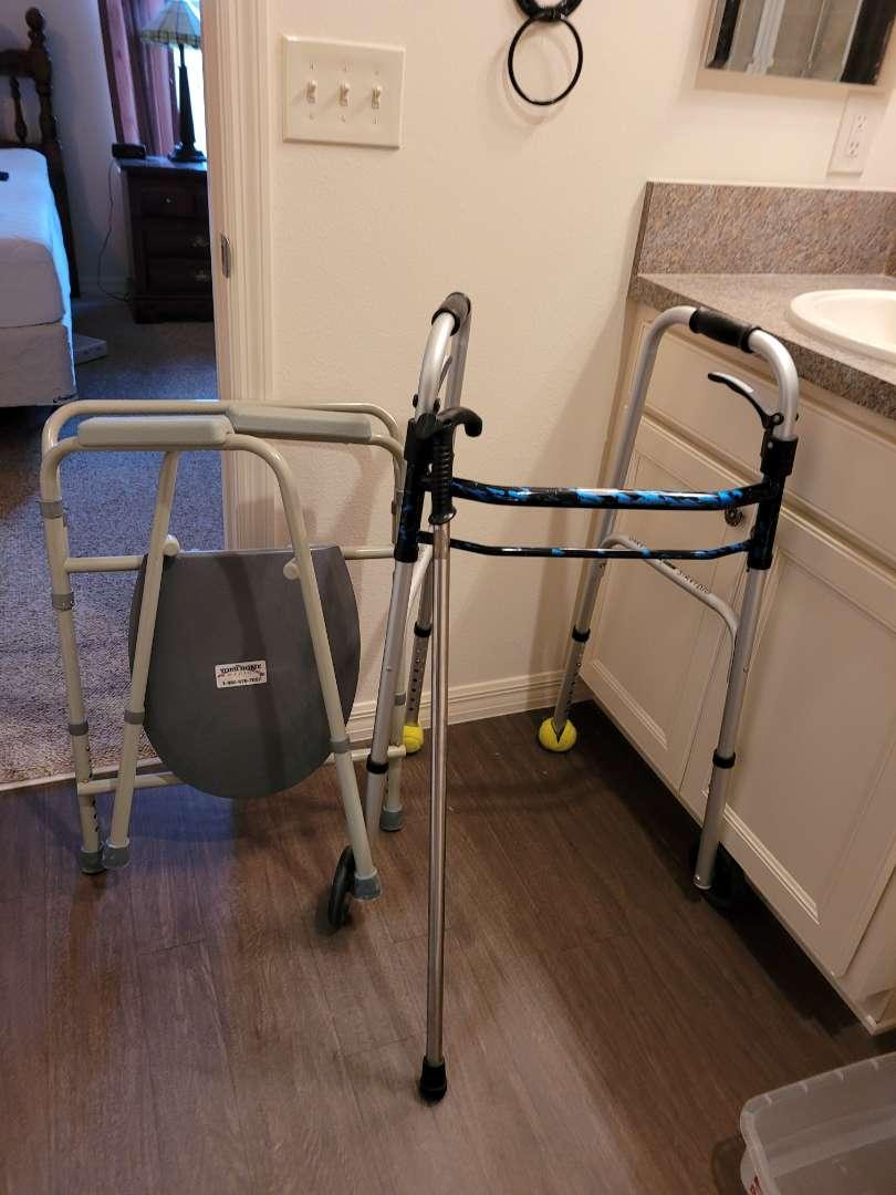 Lot # 140 Walker, Potty Chair & Cane