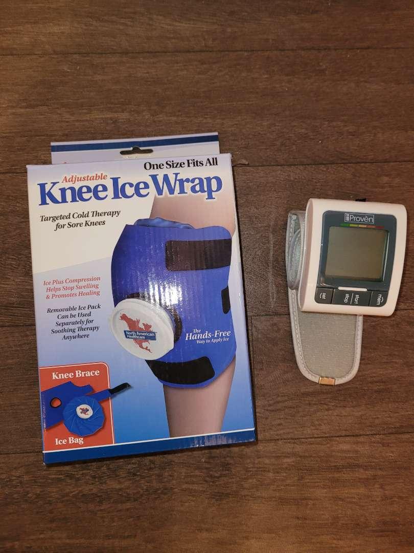 Lot # 145 Knee Wrap - NIP & BP Monitor