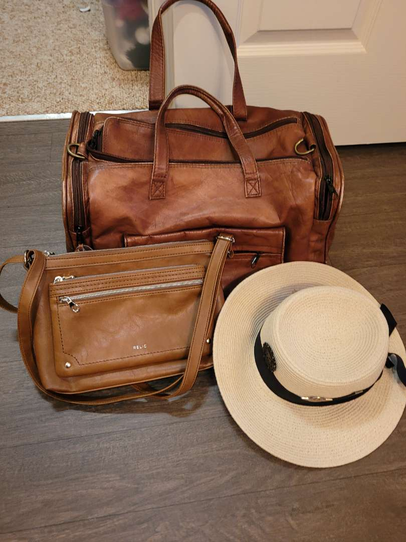 Lot # 167 Relic Purse, Leather Overnight Bag & Hat