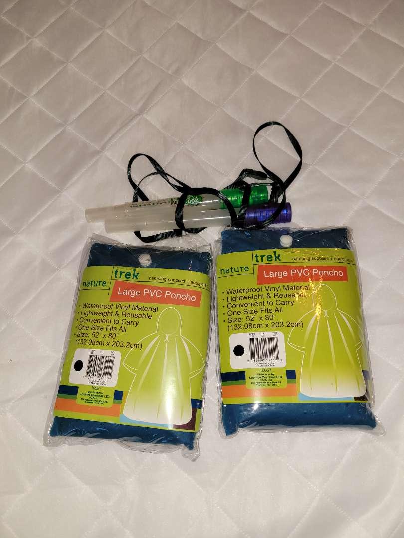 Lot # 168 (2) Ponchos-NIP & 2 Safety Lights
