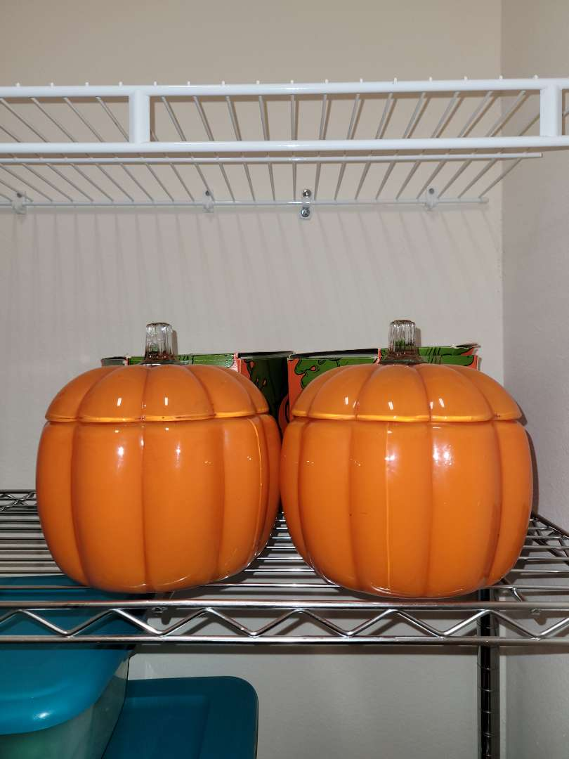 Lot # 180 (2) Glass Pumpkin Jars