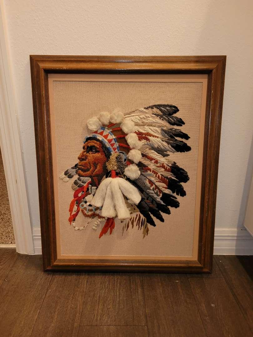 Lot # 185 Needlepoint Native American Framed Wall Art