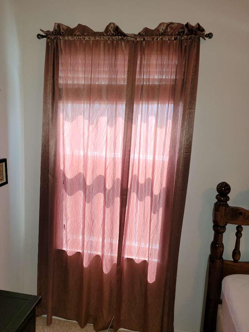 Lot # 188 Sheer Window Panels w/ Adjustable Size Rod
