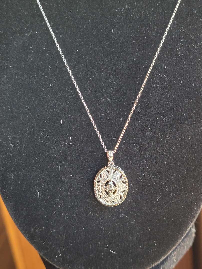Lot # 195 Antique Style 1/2ct Black/White Diamond Necklace- Sterling Silver - NBW