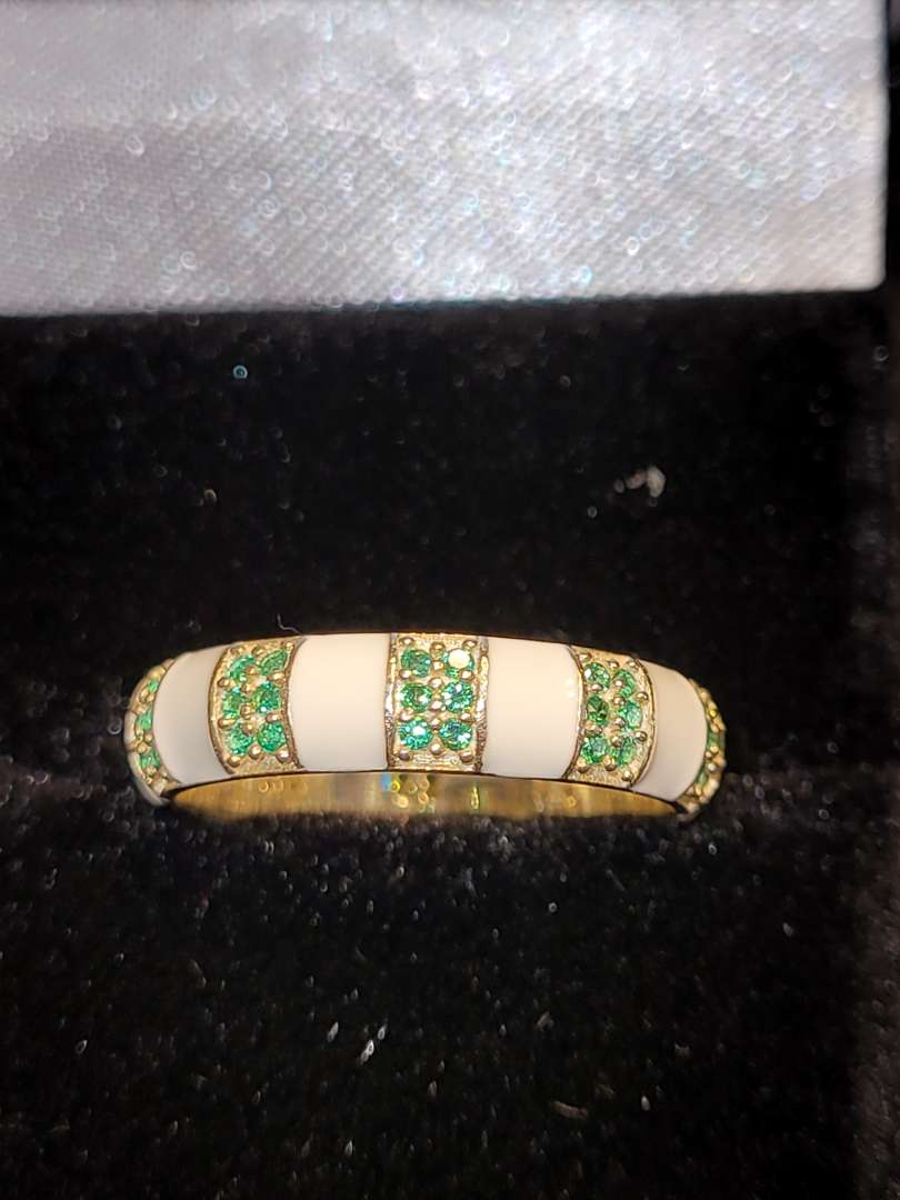 Lot # 196 Elegant Emerald & Opal  Eternity Band - 14k Gold over Sterling Silver  sz7 - NBW