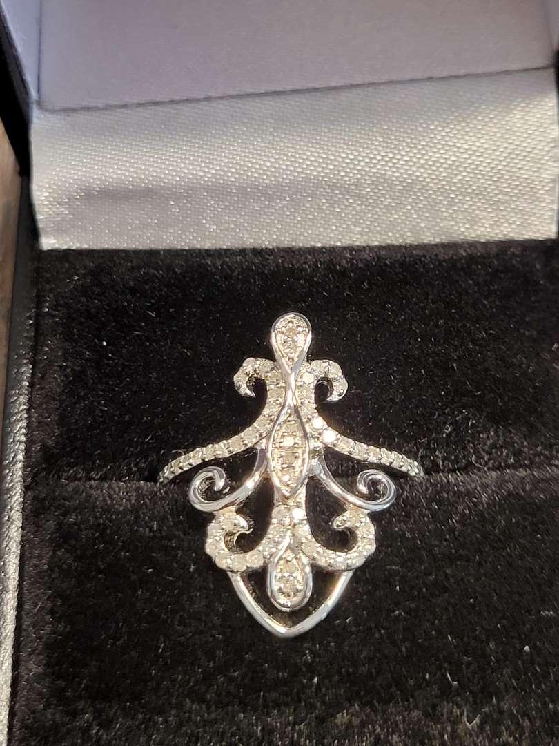Lot # 198 Genuine 1/3ct Fleur De Lis Designer Diamond Ring- Sterling Silver-Sz7 - NBW