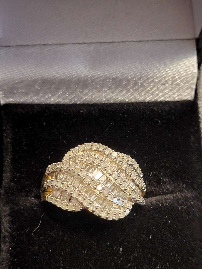 Lot # 199 Brilliant 3/4ct Baguette Diamond Wave Ring 14K Gold Overlay/Sterling Silver  Sz6 - NBW