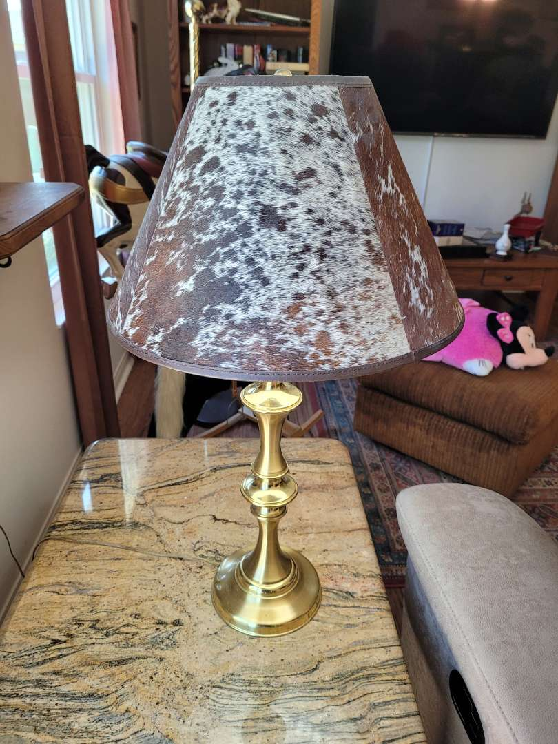 Lot # 200 Table Lamp w/ Cow Hide Shade