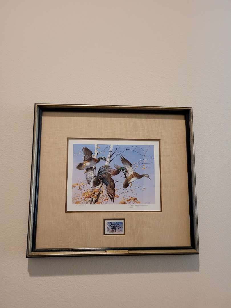 Lot # 209  Framed & Matted 1986 Vermont Duck Stamps Print - Signed & Numbered 5583/13910