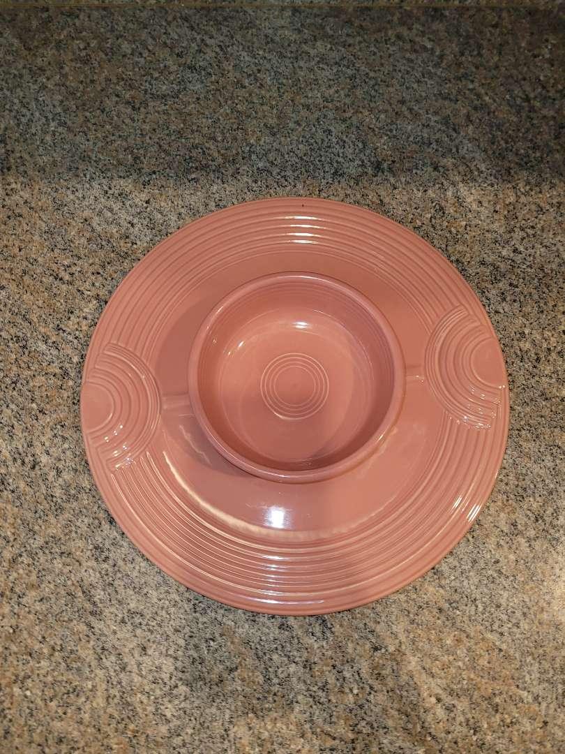 Lot # 235  Vintage Pink Fiesta Ware Platter & Bowl