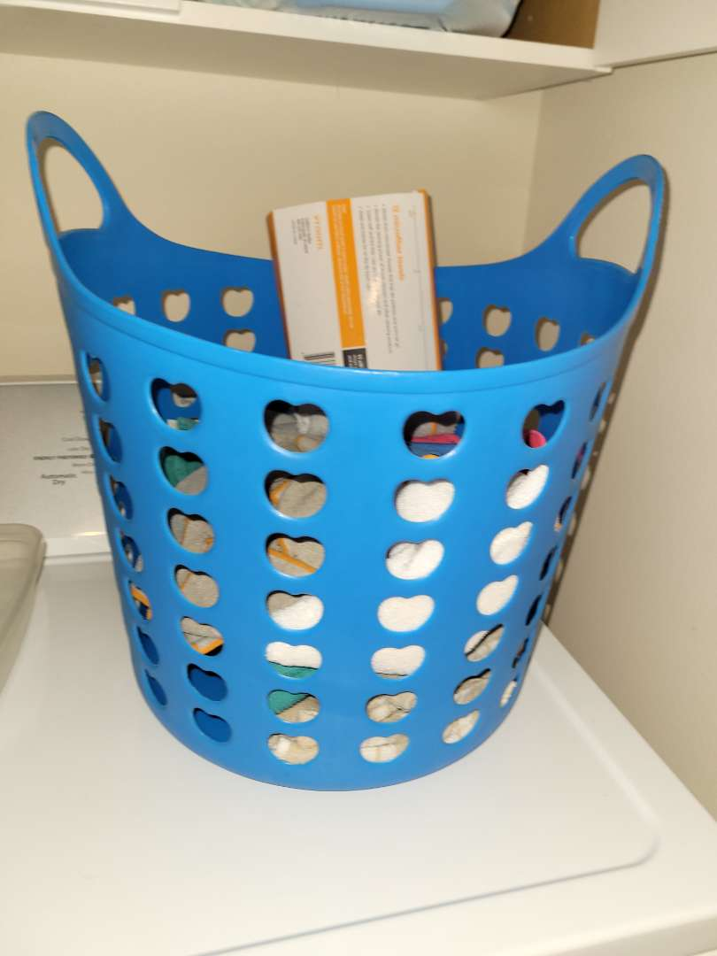 Lot # 255 Laundry Basket & Cleaning Rags