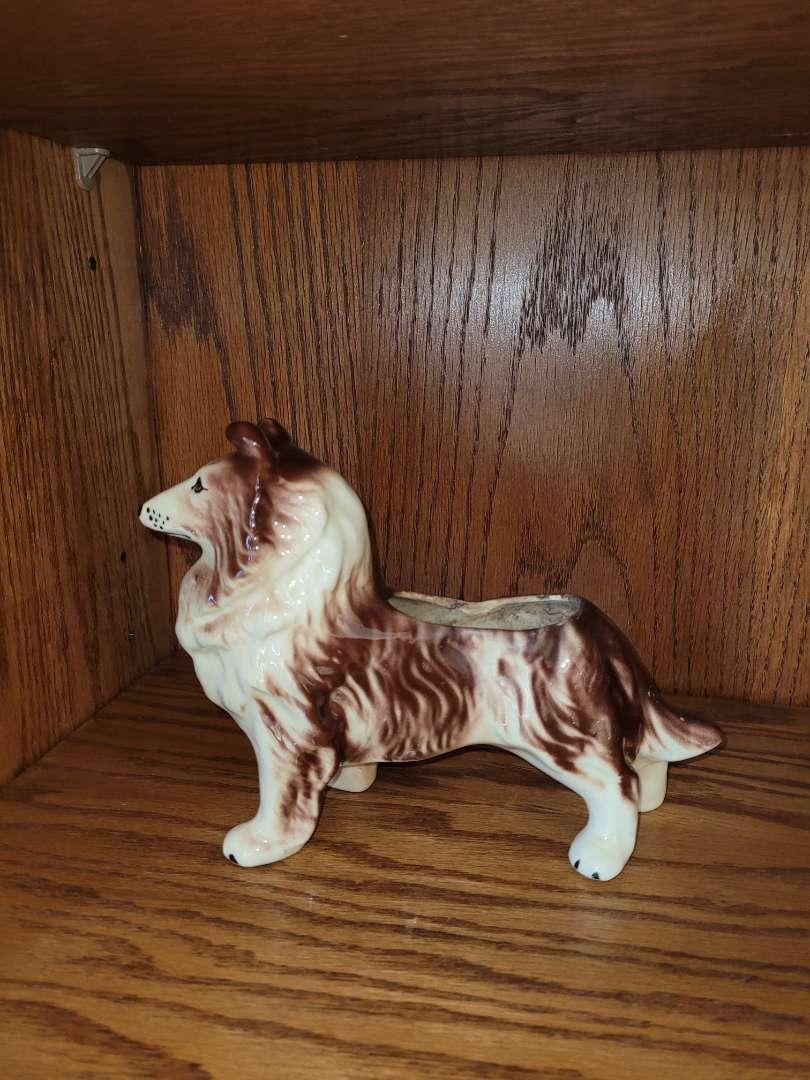 Lot # 271 Vintage Ceramic Collie Dog Figurine Statue Planter