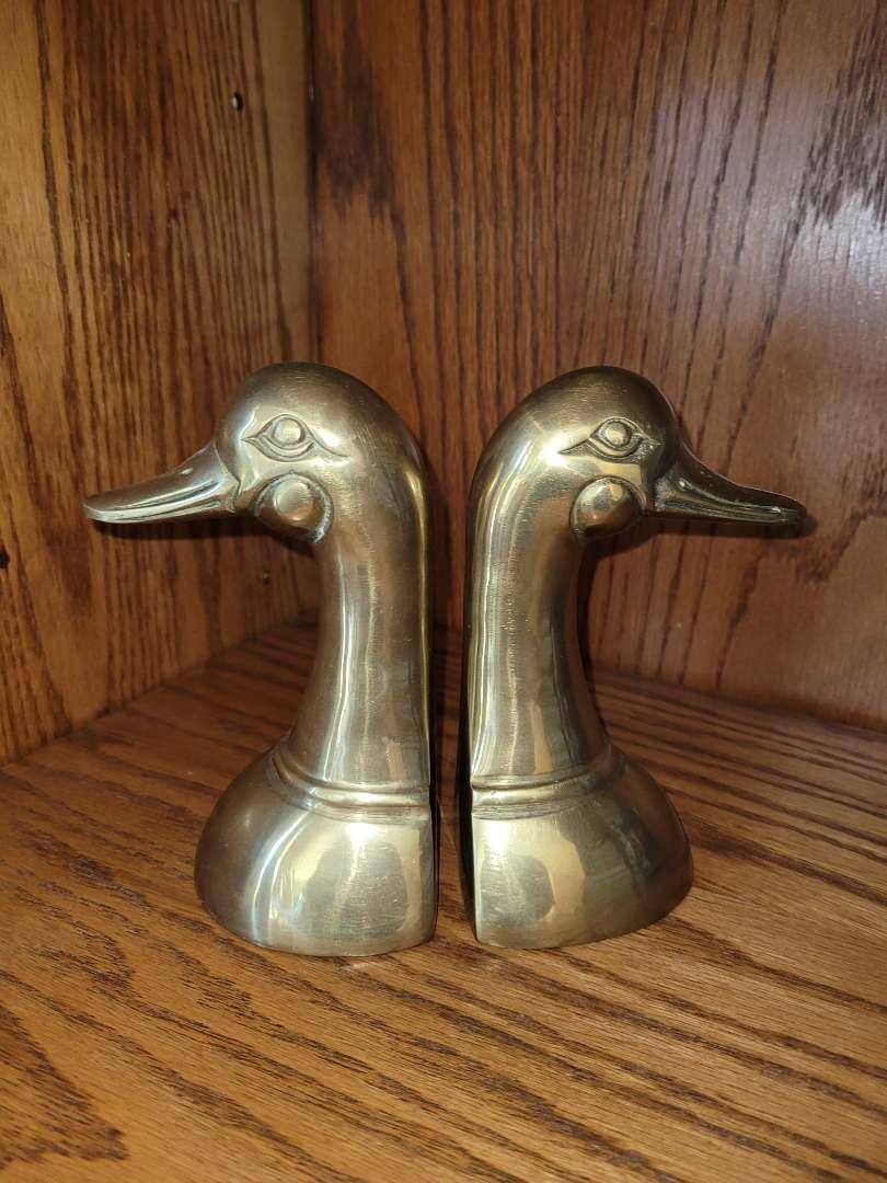Lot # 273 Brass Duck Head Bookends