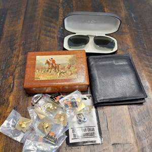 Lot # 280 Clip on Sunglasses, Wallet, Box & More
