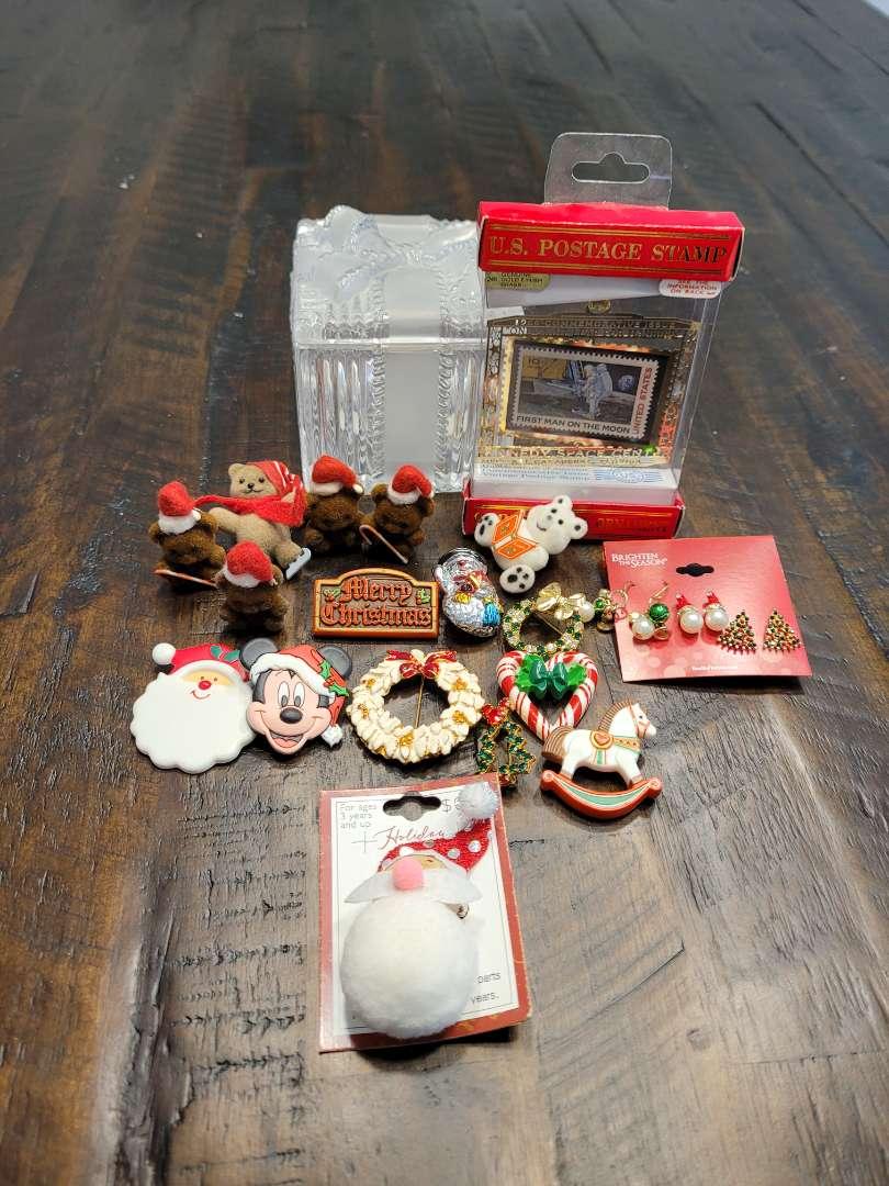 Lot # 281 Christmas Pins, Postal Ornament & Crystal Jar