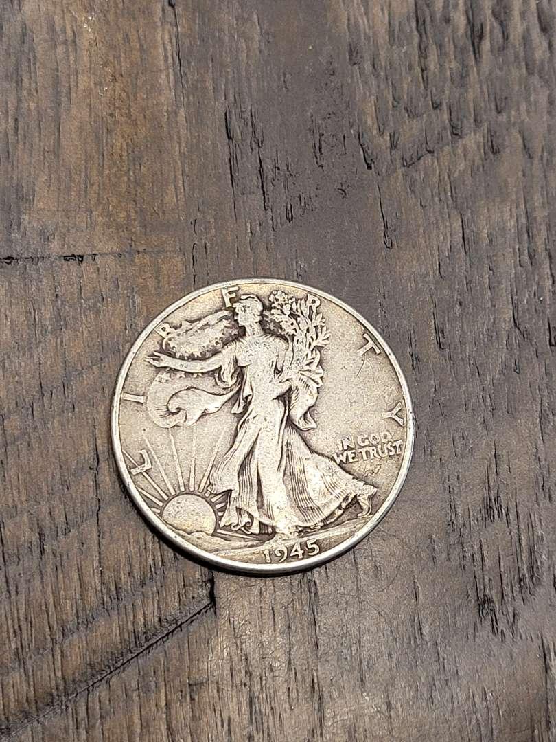 Lot # 296 1945 Walking Liberty Silver Half Dollar-90% US Silver