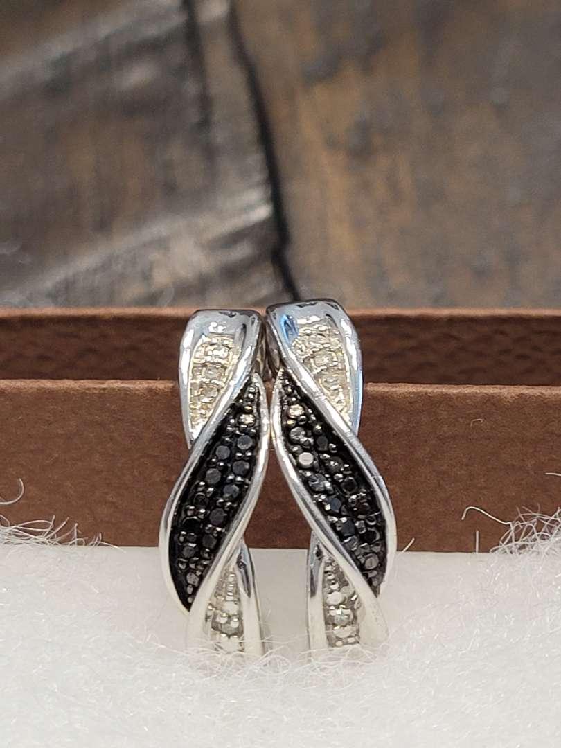 Lot # 299 Genuine Black Diamond Designer Earrings - Sterling Silver - NBW