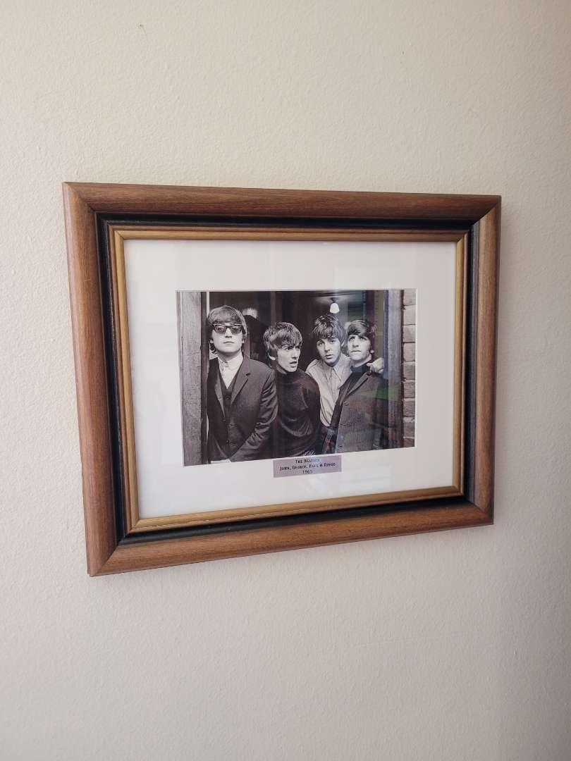 Lot # 309 Framed Black & White Beatles Photo - 1965