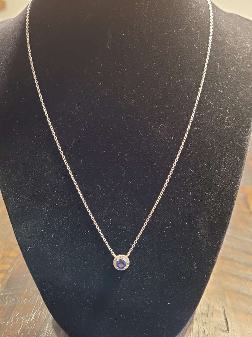 Lot # 387 Round 1.10ct Sapphire & Diamond Necklace- Sterling Silver- NBW