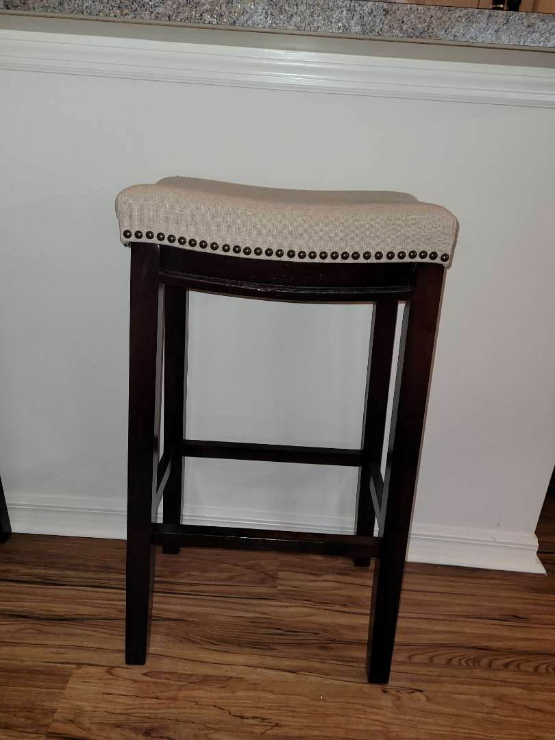 Lot # 391 Wood Upholstered Bar Stool w/ Nailhead Trim,