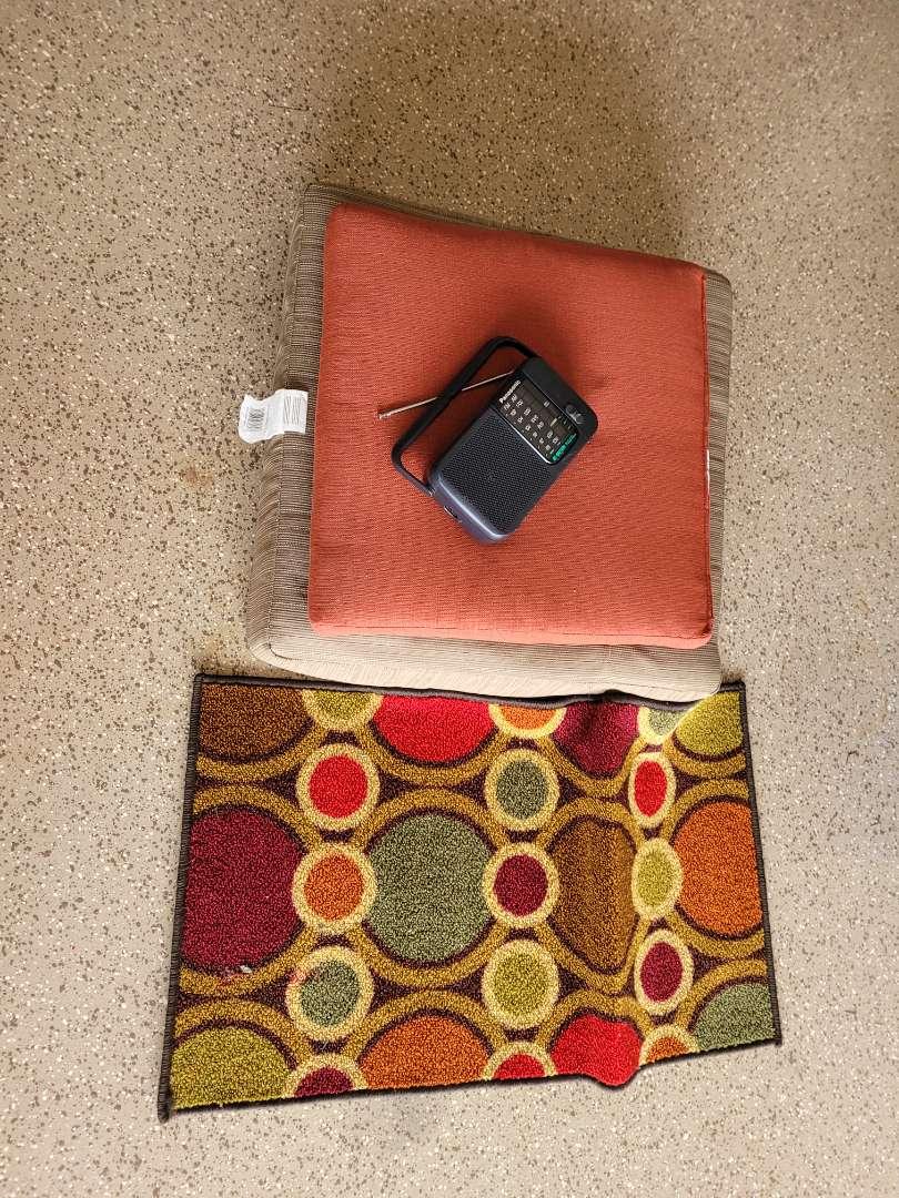 Lot # 439 (2) Cushions, Radio & Rug