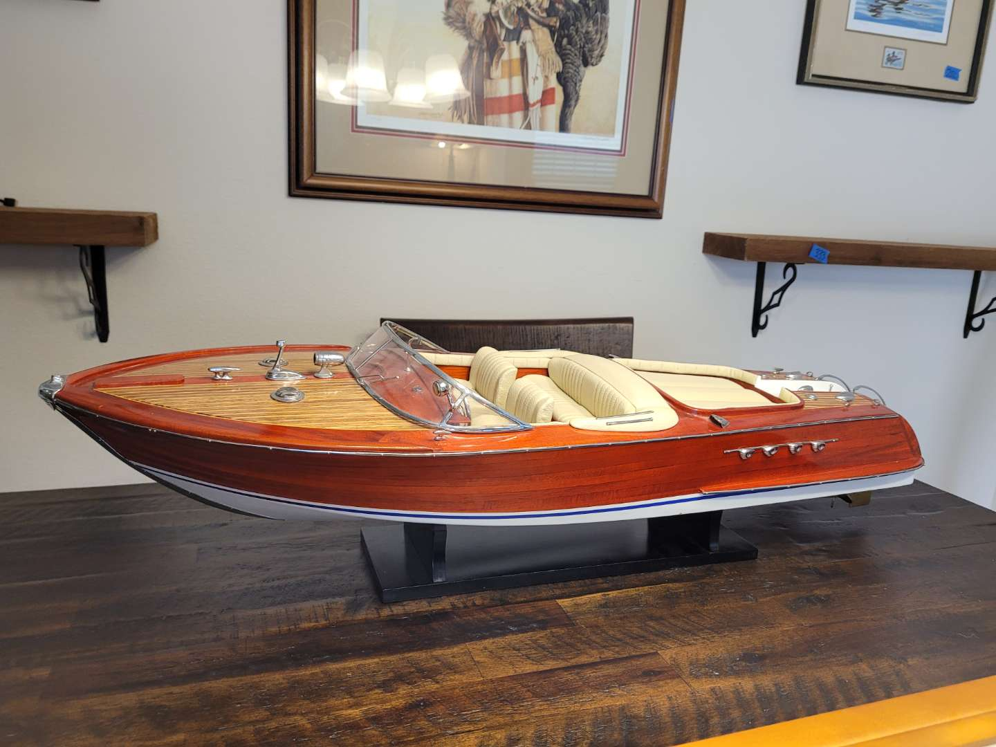 Lot # 469 Handcrafted Wood Replica of Vintage Boat on Stand - Almost 3ft