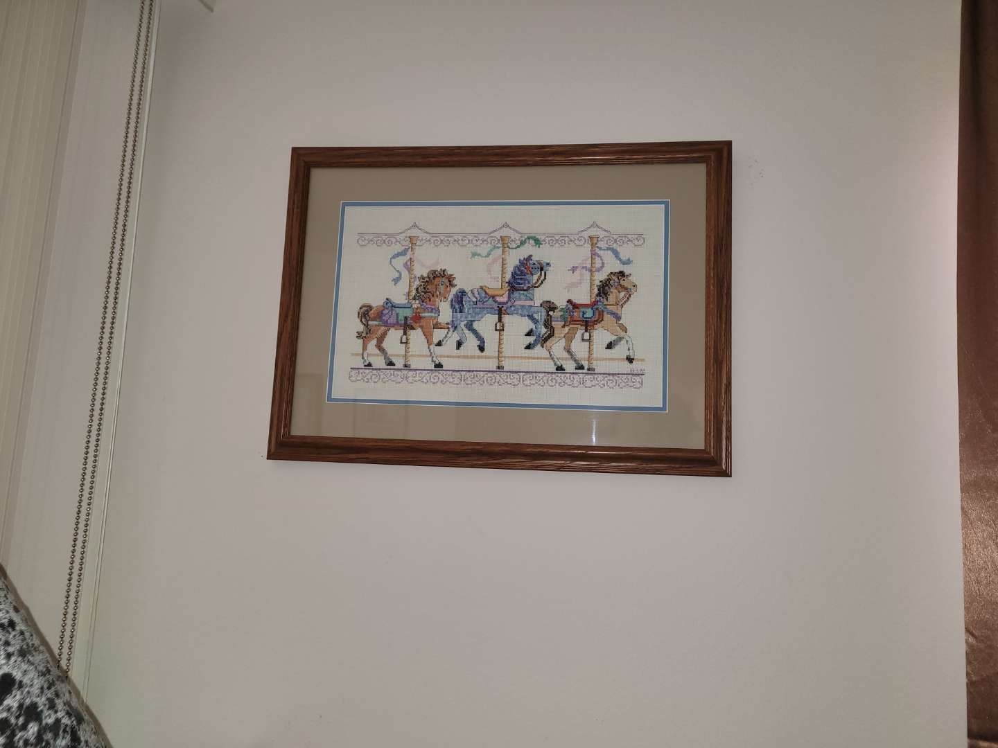 Lot # 483 Crocheted Picture of Carousel Horses
