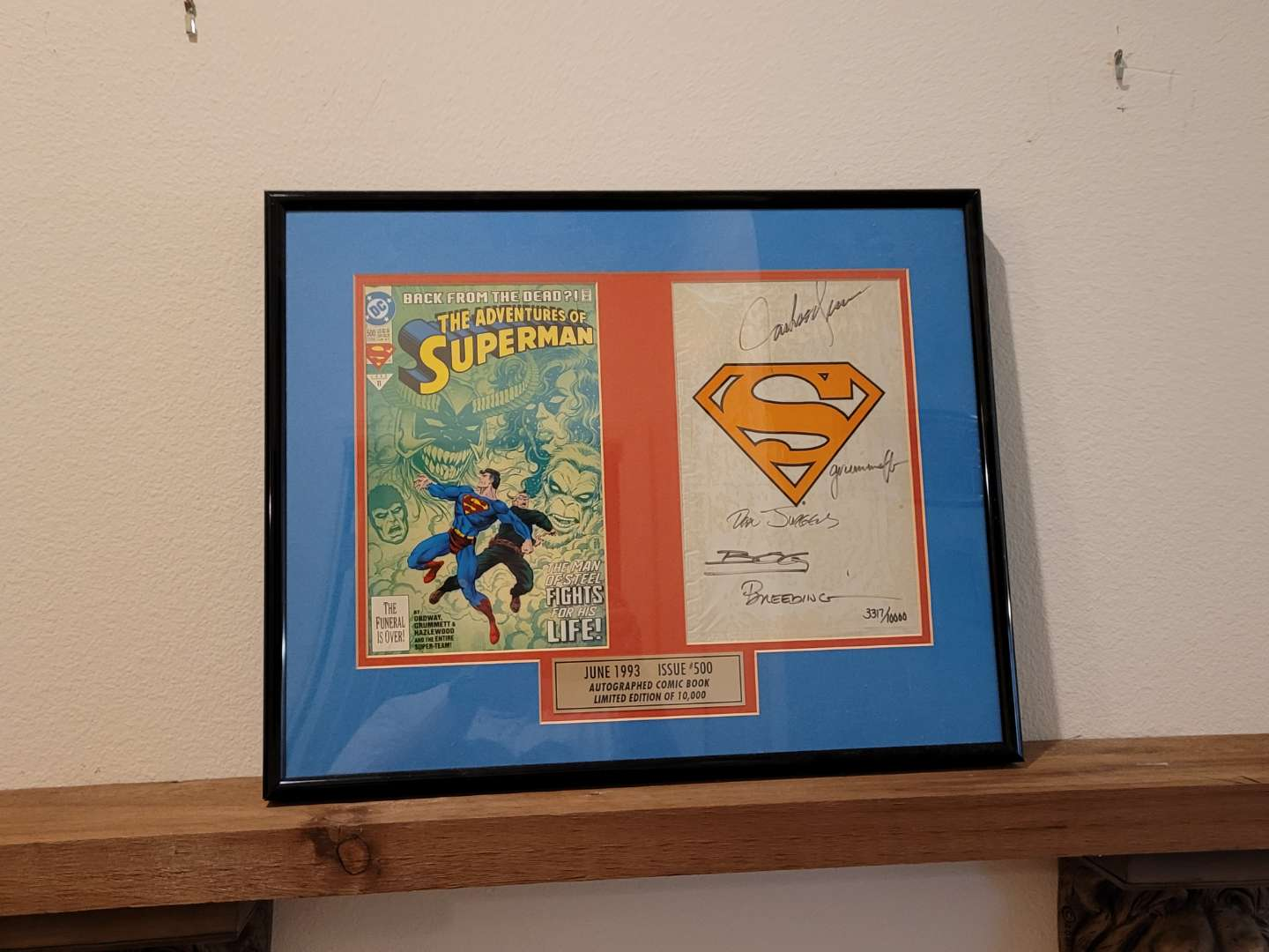 Lot # 493 Framed & Matted Autographed Issue #500 Superman Comic Book w/ COA