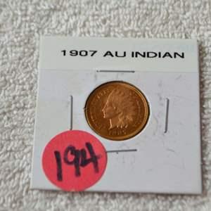 Lot # 194 1907 INDIAN HEAD CENT AU