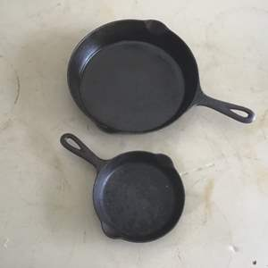Auction Thumbnail for: Lot # 33 Two (2) Vintage GRISWOLD Cast Iron Skillets - See Lot 2 Descrip