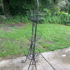 Auction Thumbnail for: Lot # 158 Tall Wrought Iron Plant Holder. 3 Baskets