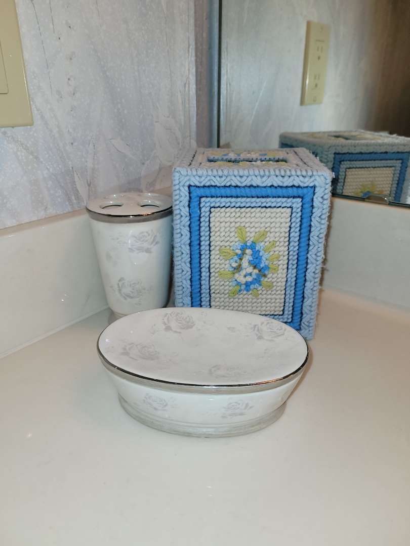 Lot # 2  Soap Dish, Toothbrush Holder & Tissue Cover