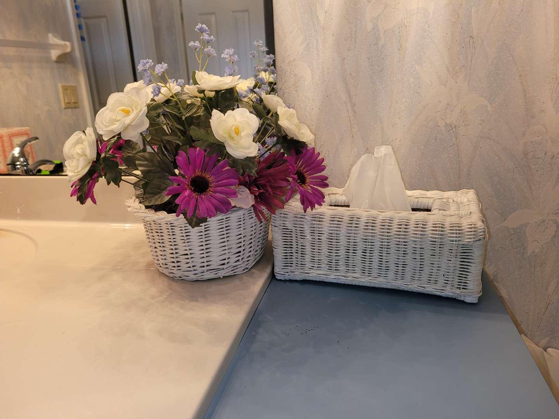 Lot # 3 Faux Flowers & Wicker Tissue Cover
