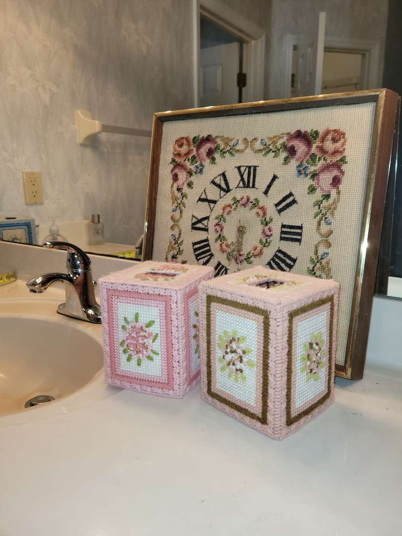 Lot # 10 Embroidered Clock & Tissue Covers