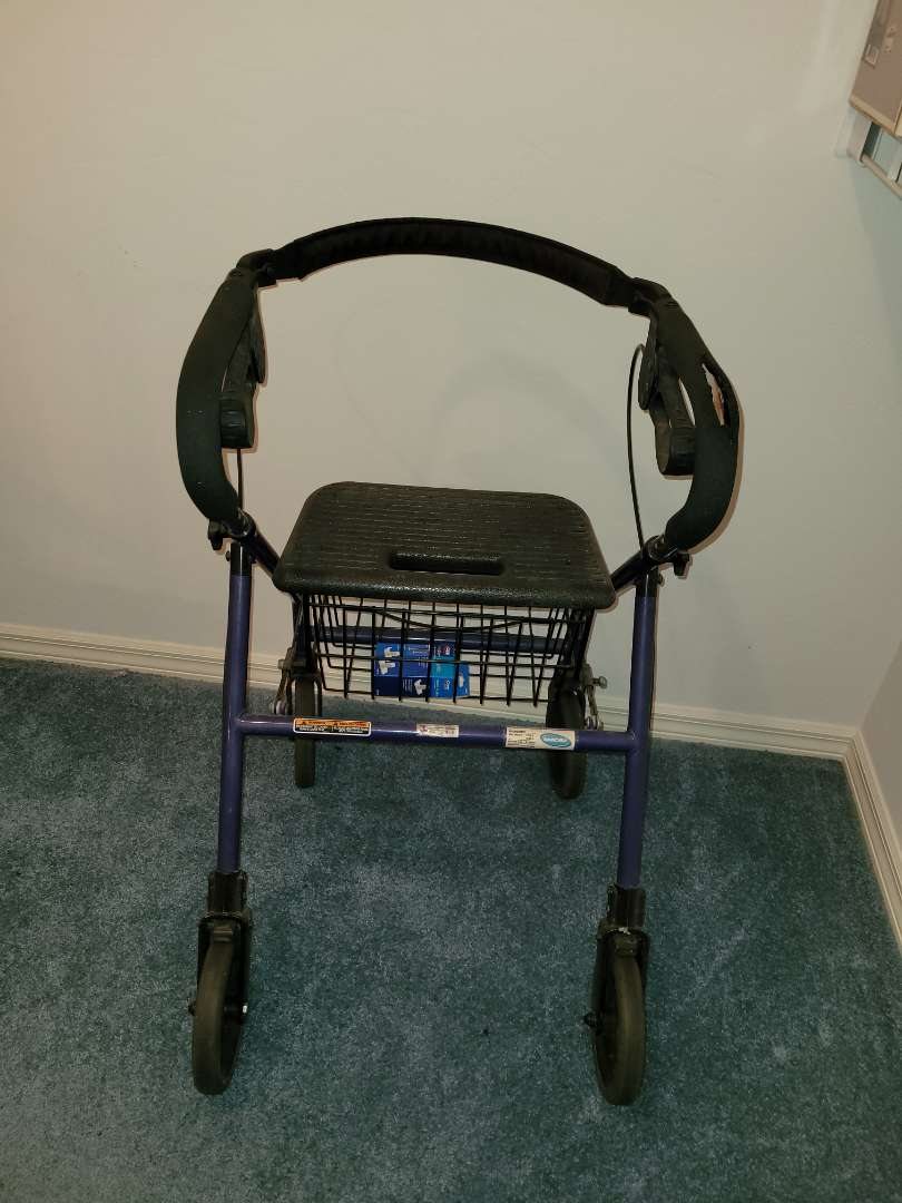 Lot # 22 Walker w/ Brakes, Wheels & Basket- Foldable