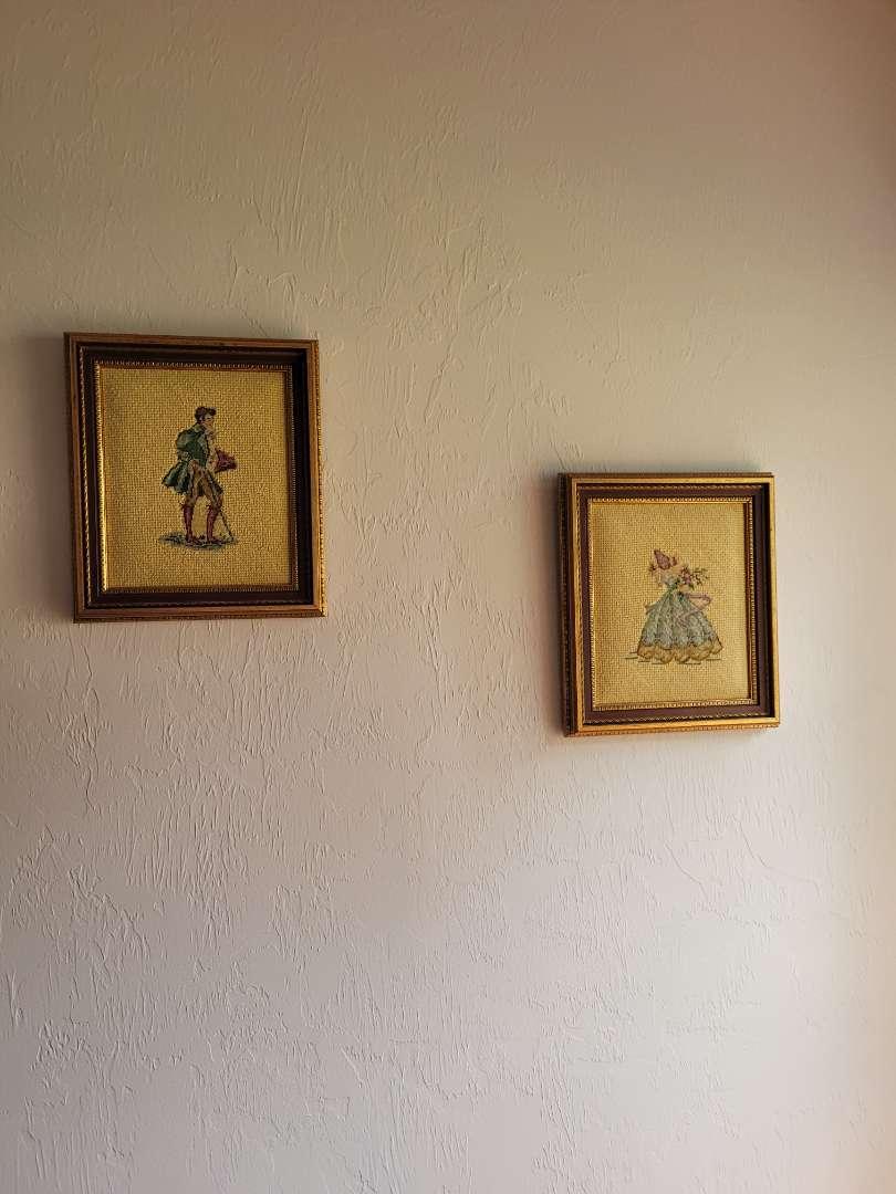 Lot # 28 Vintage Embroidered Man & Lady - Framed