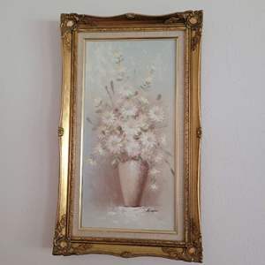 Lot # 55 Beautiful Framed Painting of Flowers- Signed Rispoli