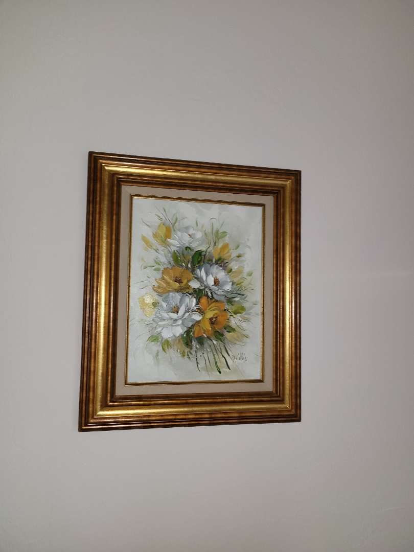 Lot # 56 Beautiful Framed Painting of Flower Bouquet- Signed P. Willis