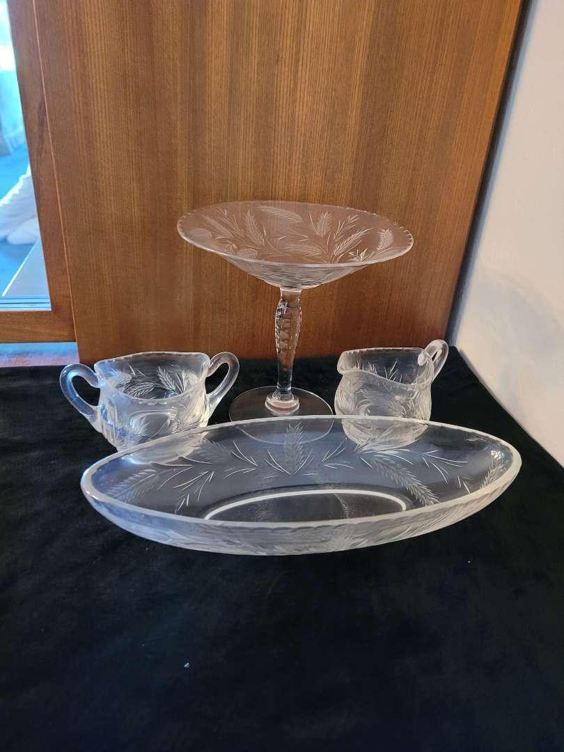 Lot # 69  Creamer & Sugar Dish, Gravy Boat & Large Glass w/ Wheat Design