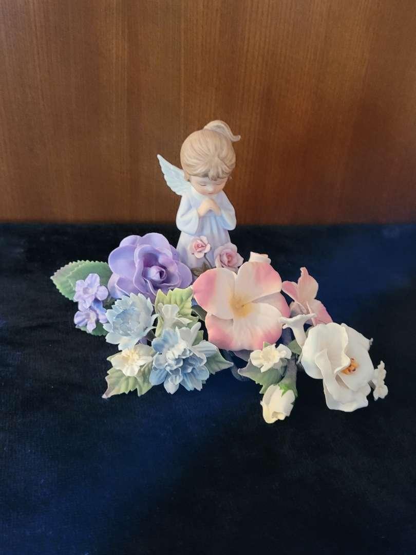 Lot # 72  Angle Girl Figurine w/ Flowers