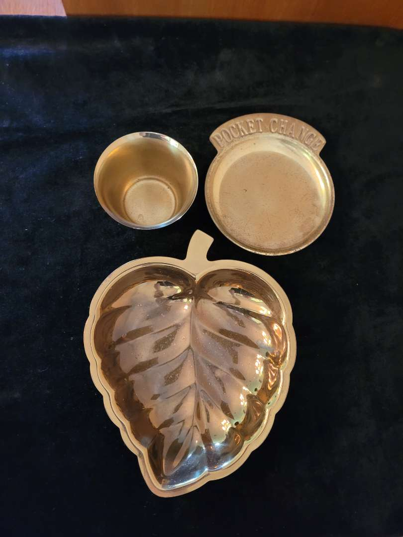 Lot # 75 Brass Plate, Coin Plate & Cup