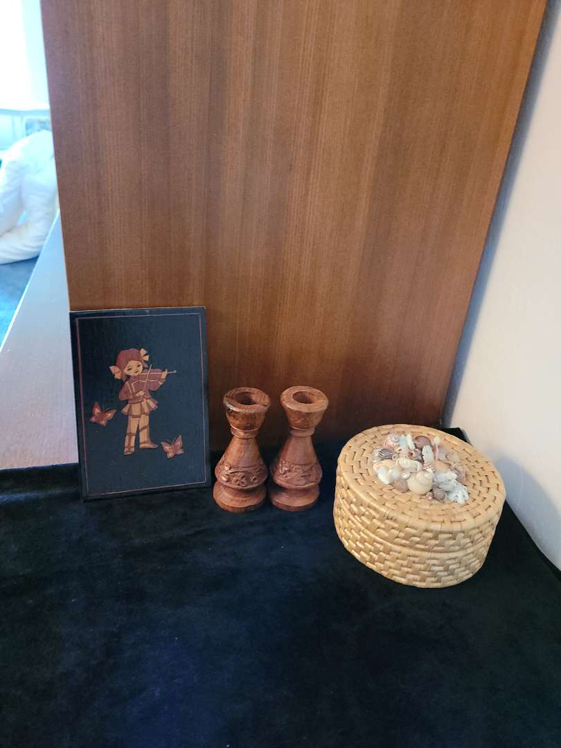 Lot # 77 Coasters, Carved Wood Candle Holders & Little Girl Carving