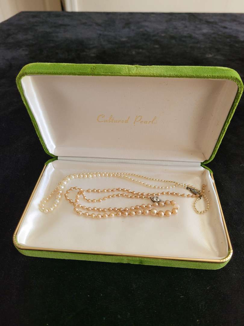 Lot # 80 Pearl Necklaces w/ Sterling Clasps