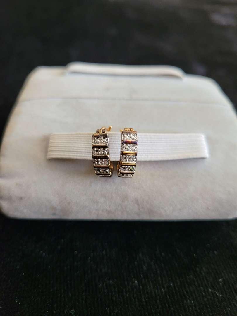 Lot # 83 Elegant Sterling Silver Earrings - Gold Tone