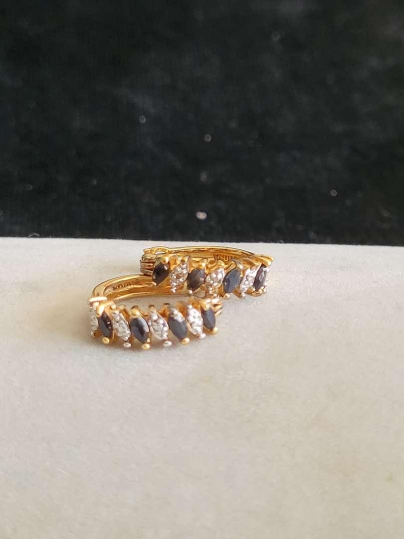 Lot # 84 Beautiful Sterling Silver Earrings - Gold Tone