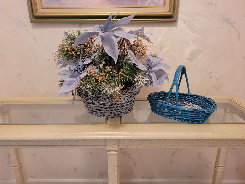 Lot # 91 Faux Flower Centerpiece & Wicker Basket