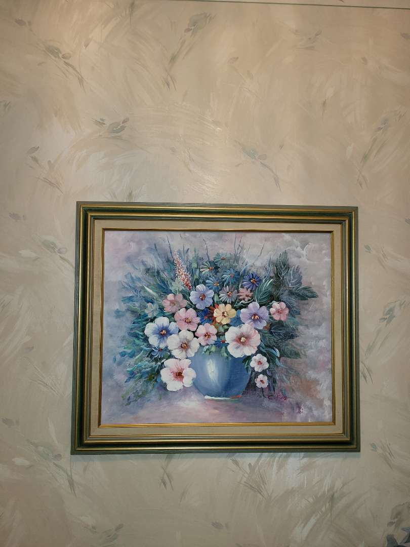 Lot # 94 Framed Bouquet of Flowers Artwork By C. Kay