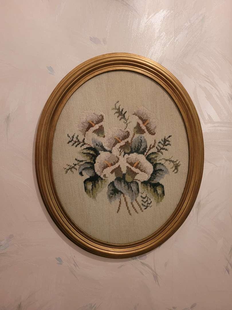 Lot # 96 Framed Embroidered Art