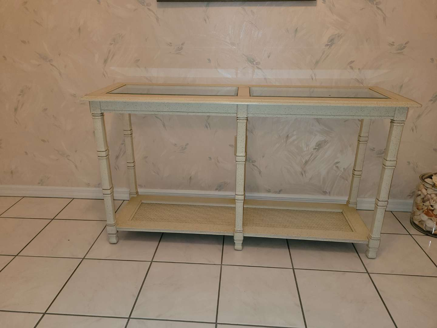Lot # 99 Wood Entryway Table w/ Glass Top